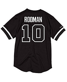 Mitchell & Ness Men's Dennis Rodman Detroit Pistons Black & White Mesh Name and Number Crew Neck Jersey