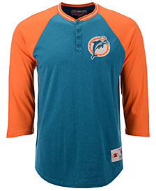 Mitchell & Ness Men's Miami Dolphins Four Button Henley T-Shirt