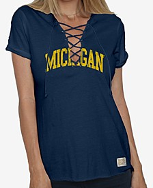 Women's Michigan Wolverines Lace Up V-Neck T-Shirt