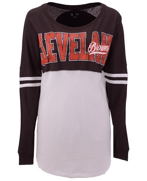 reputable site 0d965 456ba 5th & Ocean Women's Cleveland Browns Sweeper Long Sleeve T ...