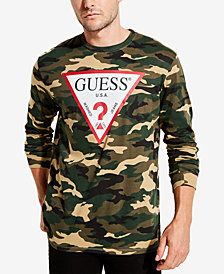 GUESS Men's Long-Sleeve Camo Logo T-Shirt