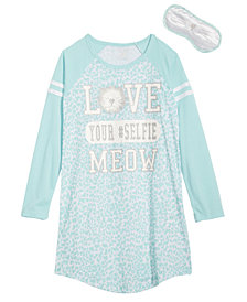 Max & Olivia Little & Big Girls Graphic-Print Nightgown & Eye Shade
