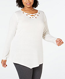 Belle by Belldini Plus Size Lace-Up Asymmetrical-Hem Tunic