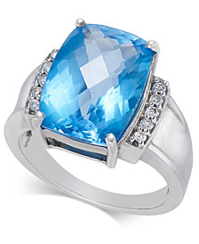 Blue Topaz (6-9/10 ct. t.w.) & Diamond (1/10 ct. t.w.) Statement Ring in Sterling Silver