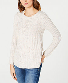 NY Collection Petite Ribbed-Knit Sweater