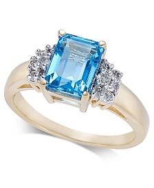 Blue Topaz (2 ct. t.w.) & Diamond (1/5 ct. t.w.) Ring in 14k Gold