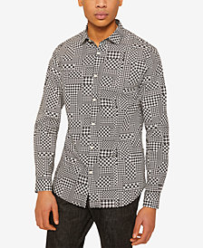 A|X Armani Exchange Men's Houndstooth Patchwork Shirt