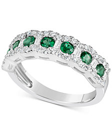 Sapphire (7/8 ct. t.w.) & Diamond (3/8 ct. t.w.) Ring in 14k White Gold (Also Available in Emerald & Ruby)