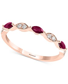 Gemstone Bridal by EFFY® Ruby (1/4 ct. t.w.) & Diamond (1/8 ct. t.w.) Band in 18k Rose Gold