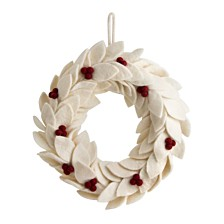 Global Goods Partners Felted White Poinsettia Wreath