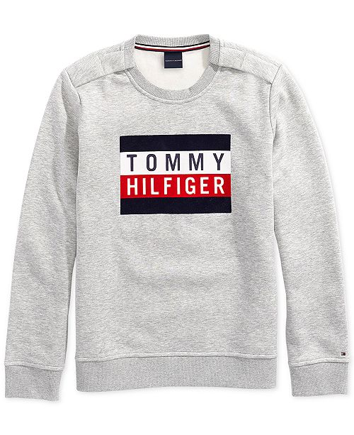 28e3207b Tommy Hilfiger Women's Electra Flag Sweatshirt with Magnetic Closures at  Shoulders
