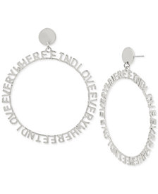 "BCBGeneration Silver-Tone ""Find Love Everywhere""2 1/2"" Drop Hoop Earrings"