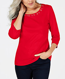 Karen Scott Cotton Lace-Through-Neck Top, Created for Macy's