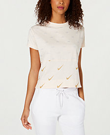 Nike Sportswear Cotton Metallic Logo-Print Cropped Top