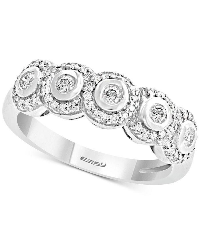 EFFY Collection - Diamond Bezel Halo Ring (1/3 ct. t.w.) in 14k White Gold