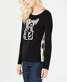 Charter Club Embroidered Puppy-Theme Sweater, Created for Macy's