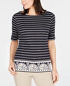Karen Scott Petite Mixed-Print T-Shirt, Created for Macy's