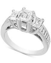 931f7fccf3b645 Diamond Three Stone Engagement Ring (2 ct. t.w.) in 14k White Gold