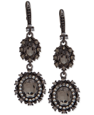Marchesa HEMATITE-TONE CRYSTAL DOUBLE DROP EARRINGS