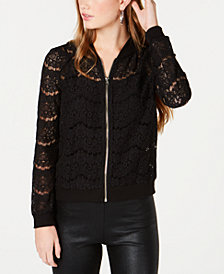 Material Girl Juniors' Lace Bomber Jacket, Created for Macy's