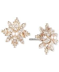 Pavé & Imitation Pearl Flower Stud Earrings