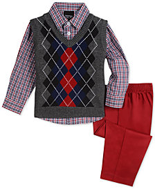 TFW Baby Boys 3-Pc. Argyle Sweater Vest, Plaid Shirt & Pants Set