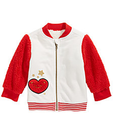 First Impressions Baby Girls Faux Sherpa Varsity Jacket, Created for Macy's