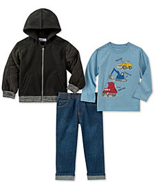 Kids Headquarters Baby Boys 3-Pc. Hooded Jacket, Trucks T-Shirt & Jeans Set