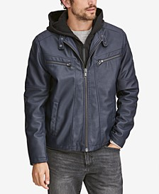 Men's Corbett Faux-Leather Jacket With Removable Hood
