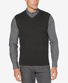 Perry Ellis Men's Textured V-Neck Sweater Vest
