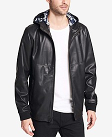 Men's Faux-Leather Perforated Hooded Jacket