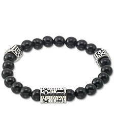 LEGACY for MEN by Simone I. Smith Onyx (8mm) Stretch Bracelet in Stainless Steel