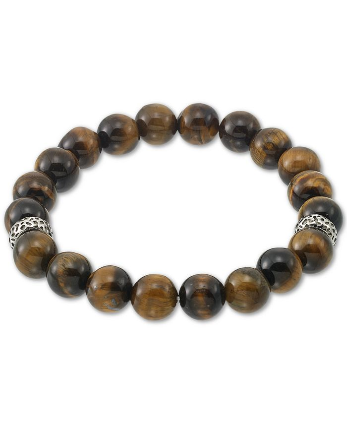 LEGACY for MEN by Simone I. Smith - Tiger's Eye (10mm) Stretch Bracelet in Stainless Steel