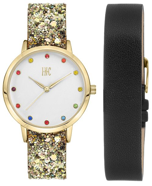 6a8fd325e I.N.C. Women's Glitter Faux Leather Strap Watch 36mm with Interchangeable  Strap Gift Set, Created for Macy's