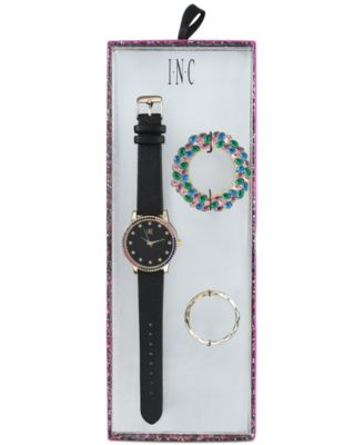 I.N.C. Women's Black Faux Leather Strap Watch 38mm with Interchangeable Bezel, Created for Macy's