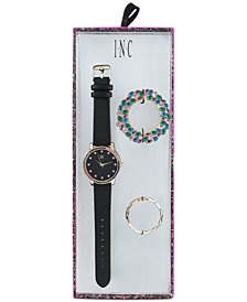 I.N.C. Women's Black Faux Leather Strap Watch 38mm, Created for Macy's