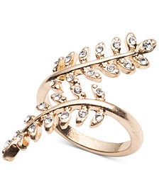 lonna & lilly Gold-Tone Pavé Leaf Wrap Ring