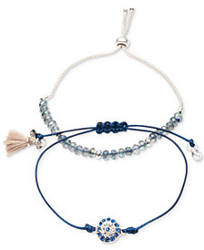 lonna & lilly Silver-Tone 2-Pc. Set Crystal, Bead & Tassel Corded Slider Bracelets