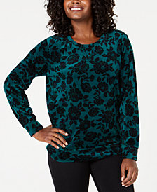 Karen Scott Floral Printed Velour Sweatshirt, Created for Macy's