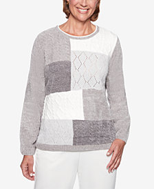 Alfred Dunner Stocking Stuffers Colorblocked Textured-Knit Sweater
