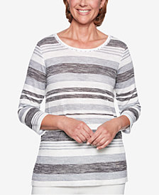 Alfred Dunner Stocking Stuffers Striped 3/4-Sleeve Sweater