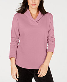 Karen Scott Shawl-Collar Sweatshirt, Created for Macy's