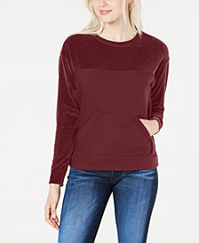 Lacoste Women's Long-Sleeve Velvet Mix Sweatshirt