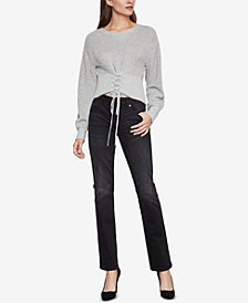 BCBGMAXAZRIA Lace Up Crop Sweater