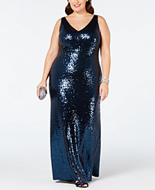 Nightway Plus Size Sequined Evening Gown