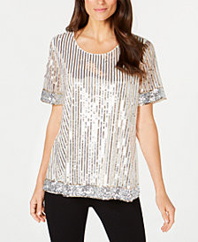 Alfani Petite Stripe Sequin Tee, Created for Macy's