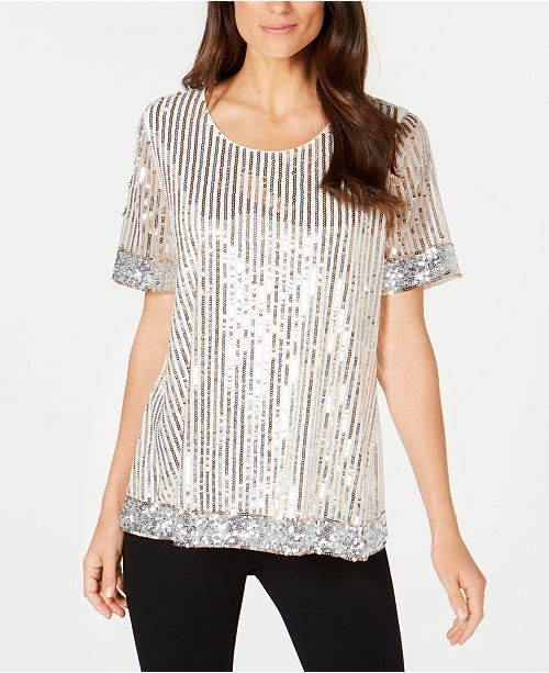 cafee8944 Alfani Petite Stripe Sequin Tee, Created for Macy's & Reviews - Tops ...