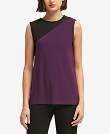 DKNY Colorblocked Zipper-Trim Shell, Created for Macy's