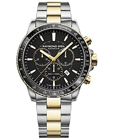 Men's Swiss Chronograph Tango 300 Two-Tone PVD Stainless Steel Bracelet Watch 43mm