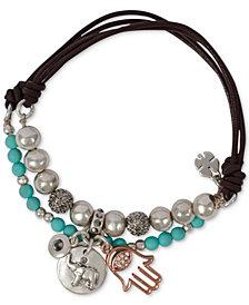 Lucky Brand Silver-Tone 2-Pc. Set Crystal Hamsa Hand & Elephant Beaded Leather Stretch Bracelets